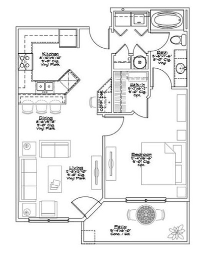 A - 4 Floorplan at The Briarcliff City Apartments